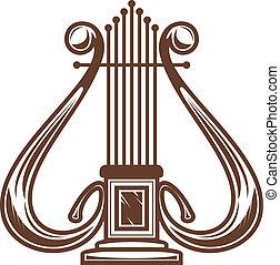 Musical harp isolated on white for design