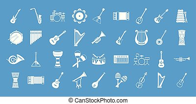 Musical instrument icon blue set vector - Musical instrument...