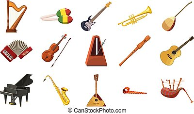 Musical instrument icon set, cartoon style - Musical...