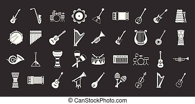 Musical instrument icon set grey vector