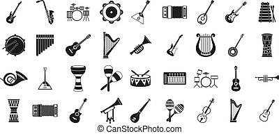 Musical instrument icon set, simple style - Musical...