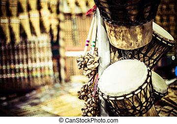 Musical instrument in local market in Peru.