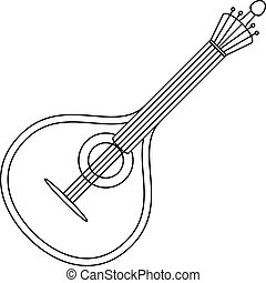 Musical instrument mandolin contour - Mandolin, cartoon...