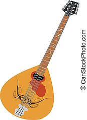 Musical instrument mandolin on white background