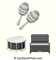 Musical instrument monochrome icons in set collection for...