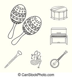 Musical instrument outline icons in set collection for...