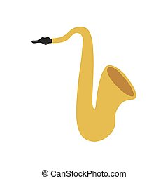 musical instrument saxophone on white background