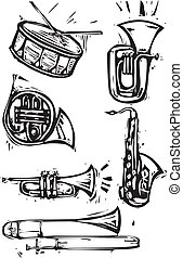 Musical Instrument Set - Different brass instruments and a...