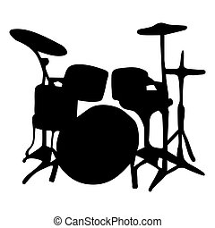 Musical instrument. Silhouette drums vector illustration