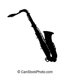 Musical instrument. Silhouette saxophone vector illustration
