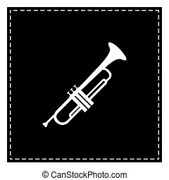 Musical instrument Trumpet sign. Black patch on white background