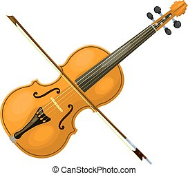 Musical instrument violin with a bow on a white background. Cartoon style. Isolated object. Stock vector illustration