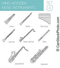Musical instruments graphic template. Wind wooden. Vector illustration