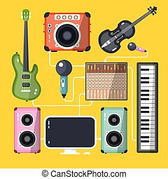 Musical Instruments and Devices on Yellow Background. Vector Flat Design Home Recording Studio.