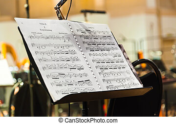 Musical instruments and sheet music - art background