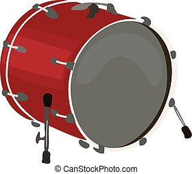 Musical instruments, big drum, on a white background