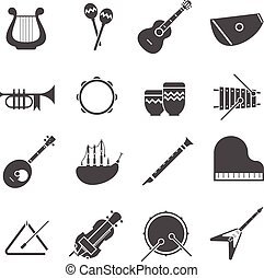Musical Instruments Black White Icons Set