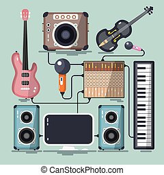 Musical Instruments, Cables and Devices. Vector Flat Design Home Recording Studio.