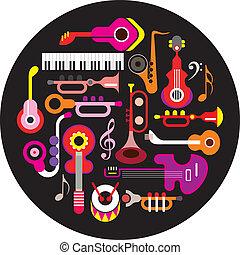 Musical instruments - round vector illustration on black...
