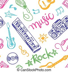 musical instruments, flat icons and elements set seamless...