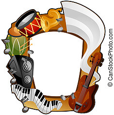Musical Instruments Frame with Clipping Path