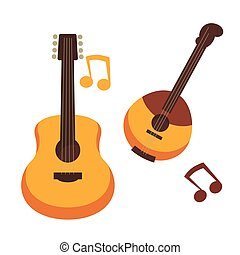 Musical instruments guitars or banjo and music notes vector...