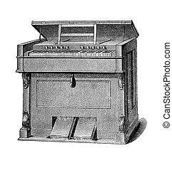 Musical instruments, harmonium vintage engraving