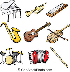 Musical instruments icons - A vector illustration of...