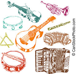 Musical instruments icons color set - Classic musical...