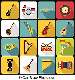 Musical instruments icons, flat style