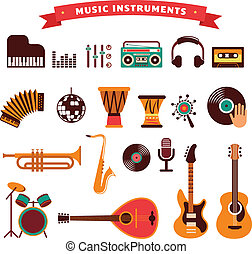 musical instruments icons set