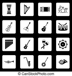 Musical instruments icons set squares vector