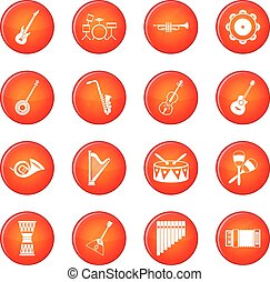 Musical instruments icons vector set