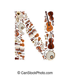Musical instruments letter - Musical instruments alphabet on...
