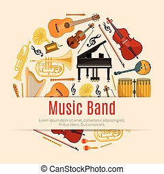 Musical instruments music band vector poster