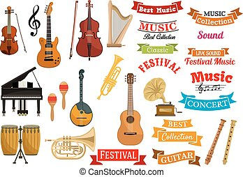 Musical instruments, music vector ribbon emblems
