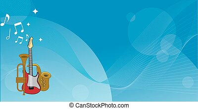 Musical instruments on a blue horizontal background. vector illustration