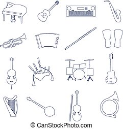 musical instruments outline vector icons set eps10