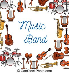 Musical instruments poster for music design