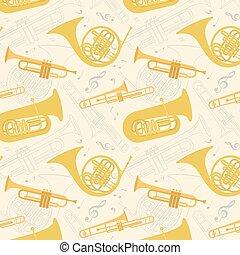 Musical instruments seamless pattern. Vector illustration