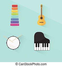 musical instruments set. flat design