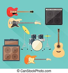 Musical Instruments Set Guitar Drums Rock Band Flat Vector...