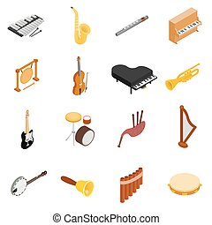 Musical Instruments set icons, isometric 3d style