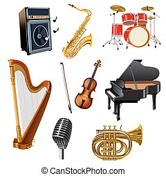 Musical Instruments Set - Musical instruments decorative...