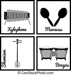 Musical instruments - Set of silhouettes of musical...