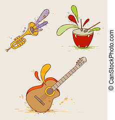 Musical instruments - Set of vector musical instruments with...