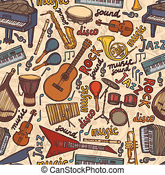 Musical instruments sketch seamless pattern - Musical...