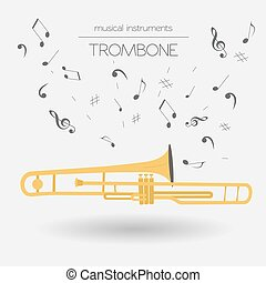 Musical instruments. Trombone - Musical instruments graphic...