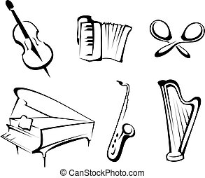 Musical instruments set for design and decorate