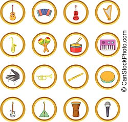 Musical instruments vector set, cartoon style